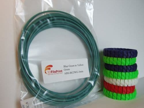 ABS 3mm Blue Green to Yellow Green Thermochanging filament