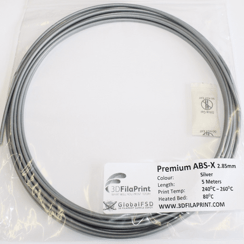 FilaPrint ABS X Silver 2.85mm 5 Meter 3D Printer Filament Sample