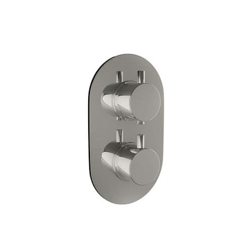 Harrison Bathrooms 2 Outlet Round 2 Handle Concealed Shower Valve With Diverter Includes Oval Plate