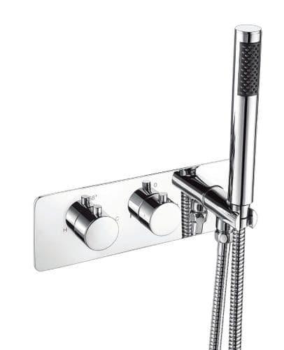 Harrison Bathrooms 2 Outlet Round 2 Handle Concealed Shower Valve With Handset