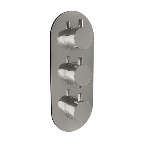 Harrison Bathrooms 2 Outlet Round 3 Handle Concealed Shower Valve Includes Oval Plate