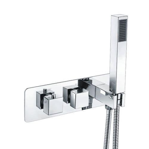Harrison Bathrooms 2 Outlet Square 2 Handle Concealed Shower Valve With Handset