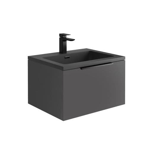 Harrison Bathrooms Ambience 600mm Matt Grey LED Wall Hung Basin Unit With Basin
