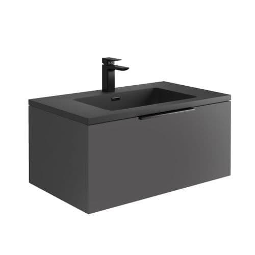 Harrison Bathrooms Ambience 800mm Matt Grey LED Wall Hung Basin Unit With Basin