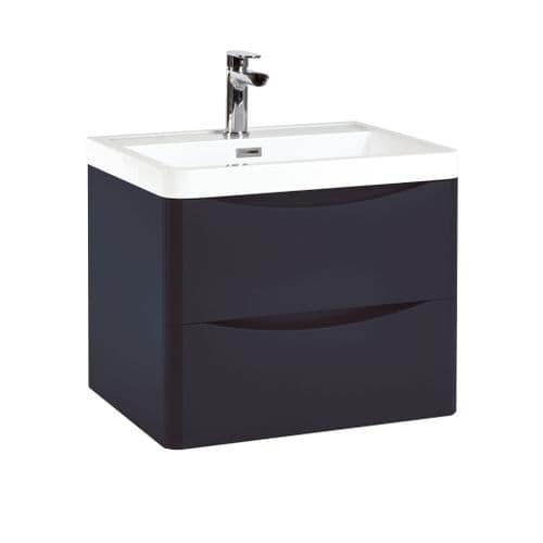 Harrison Bathrooms Bella 600mm Indigo Blue Wall Hung Basin Unit With Basin