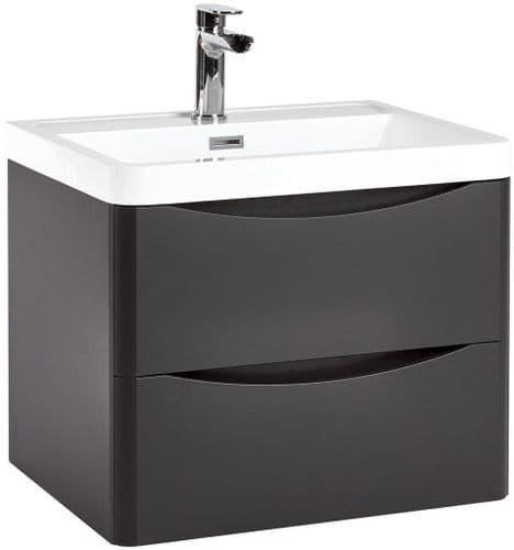 Harrison Bathrooms Bella 600mm Matt Grey Wall Hung Basin Unit With Basin