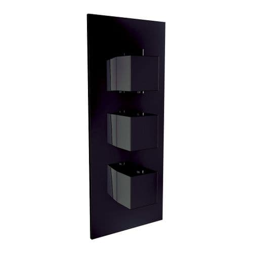Harrison Bathrooms Black 2 Outlet Square 3 Handle Concealed Shower Valve