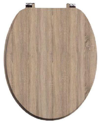 Harrison Bathrooms Bordolino Driftwood Oak MDF Soft Close Top Fix Toilet Seat