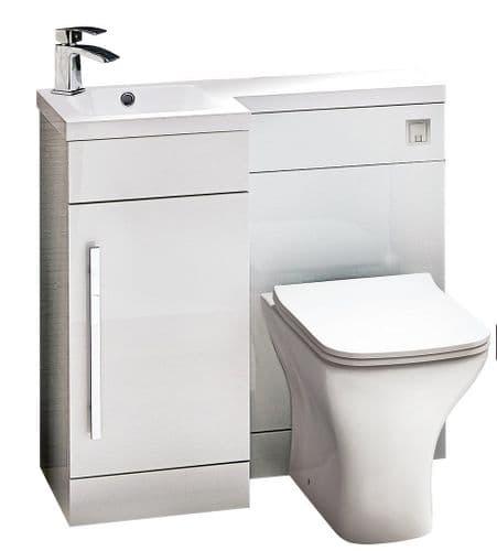 Harrison Bathrooms Lili 900mm White Gloss Hand Combination Unit With Basin