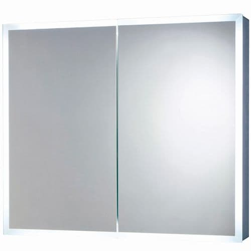 Harrison Bathrooms Mia 800mm x 700mm LED Double Door Cabinet With Demister Pad & Socket