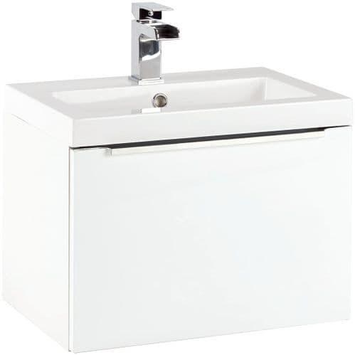 Harrison Bathrooms Muro 500mm Gloss White Wall Hung Basin Unit With Basin
