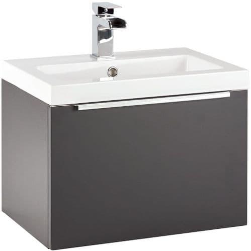 Harrison Bathrooms Muro 500mm Matt Grey Wall Hung Basin Unit With Basin