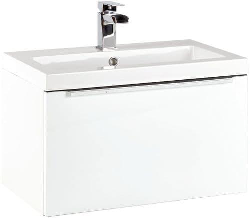 Harrison Bathrooms Muro 600mm Gloss White Wall Hung Basin Unit With Basin