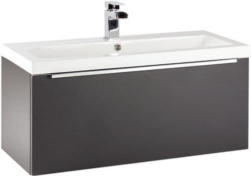 Harrison Bathrooms Muro 800mm Matt Grey Wall Hung Basin Unit With Basin