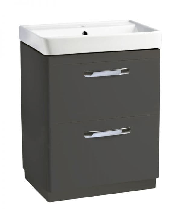 Tavistock Compass 600mm Double Drawer Basin Unit Gloss Clay