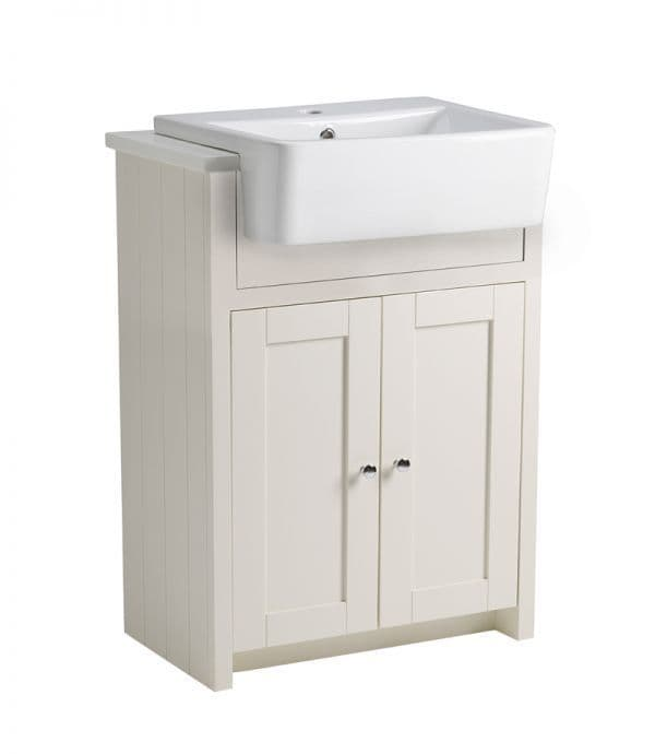 Tavistock Lansdown 600mm Semi-Countertop Basin Unit Linen White