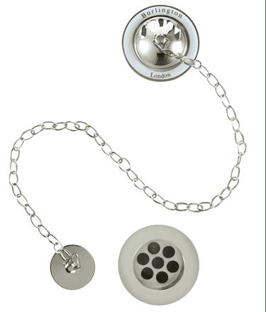 Burlington Chrome Bath Overflow, Plug & Chain With White Ceramic