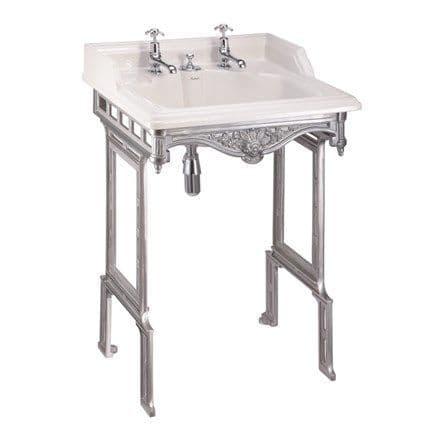 Burlington Classic 65cm Basin With Invisible Overflow & Brushed Aluminium Wash Stand