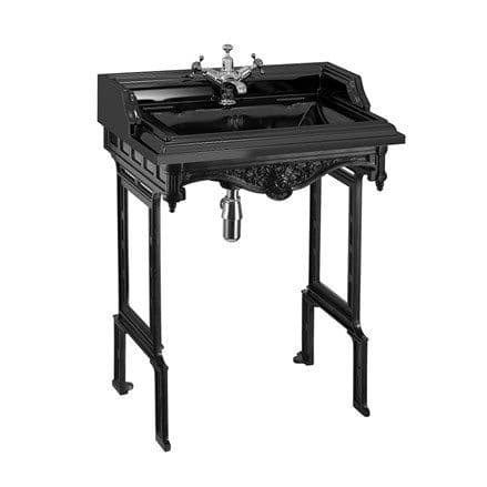 Burlington Classic Jet Black 65cm Basin & Black Aluminium Wash Stand