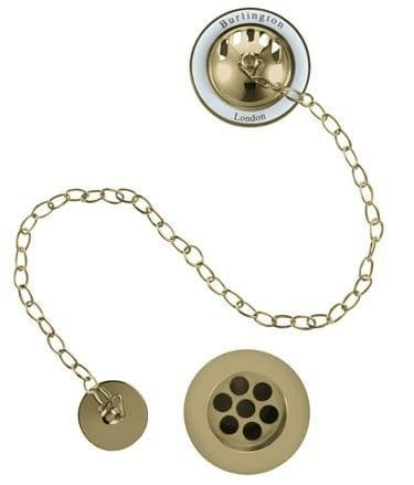 Burlington Gold Bath Overflow, Plug & Chain With White Ceramic