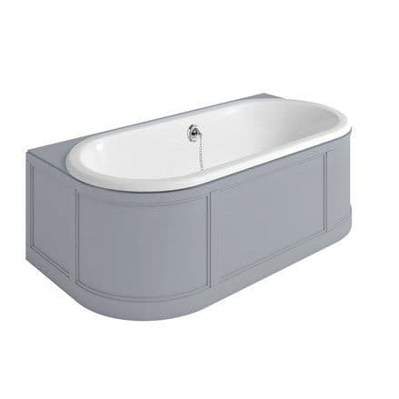 Burlington London Back To Wall Freestanding Bath With Curved Surround - Classic Grey