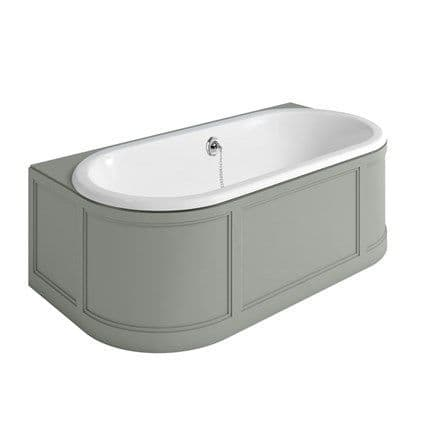 Burlington London Back To Wall Freestanding Bath With Curved Surround - Dark Olive