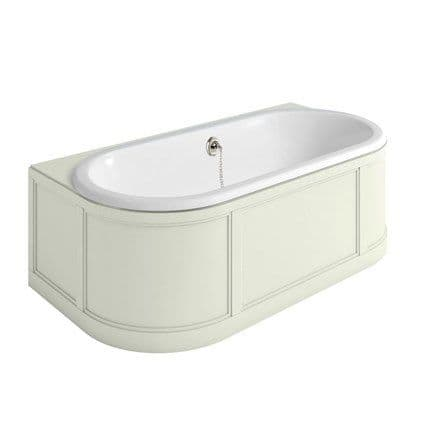 Burlington London Back To Wall Freestanding Bath With Curved Surround - Sand