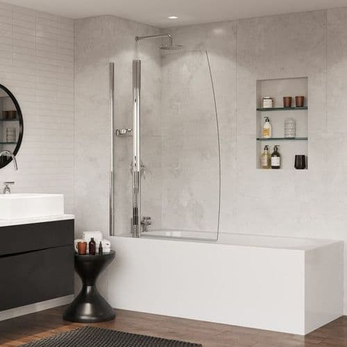 Coram Double Panel Sail Bath Screen With Integrated Basket