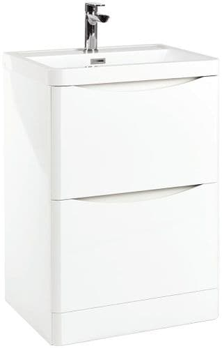 Cudos Contour 600mm Gloss White Basin Unit