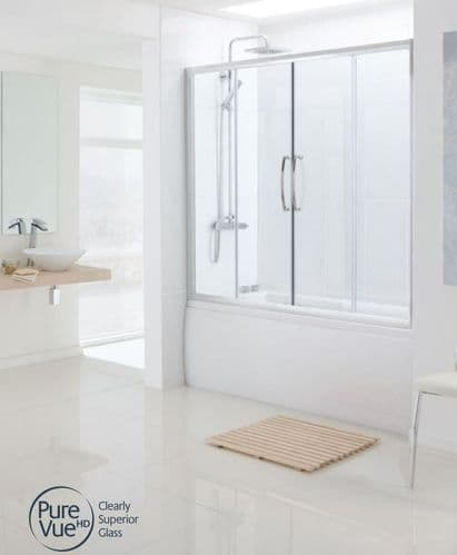 Lakes Classic Silver 1600mm Double Sliding Door Bath Screen