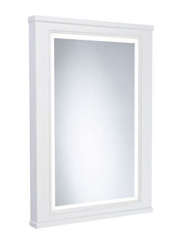 Tavistock Lansdown 600mm Framed Illuminated Mirror Linen White
