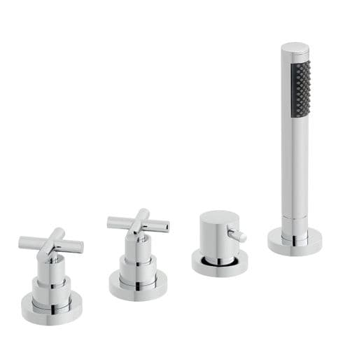 Vado Elements Water 4 Hole Bath Shower Mixer For Use With A Bath Filler Waste & Overflow