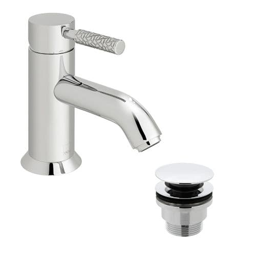 Vado Omika Mono Basin Mixer With Patterned Handle & Universal Waste