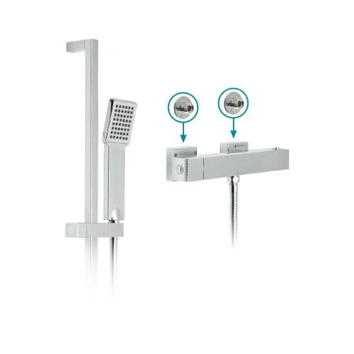 Vado Té Square Exposed Thermostatic Shower Set With Shower Kit