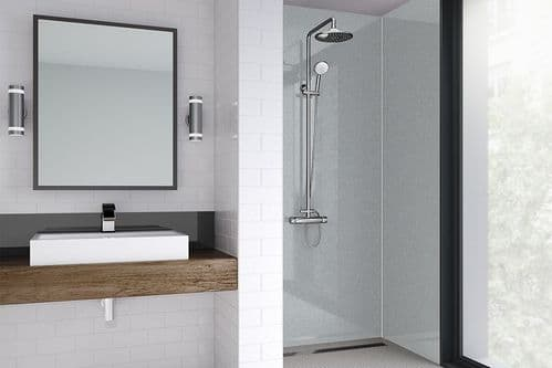 Wetwall Acrylic Metallic Gloss Sterling Silver Shower Wall Panel