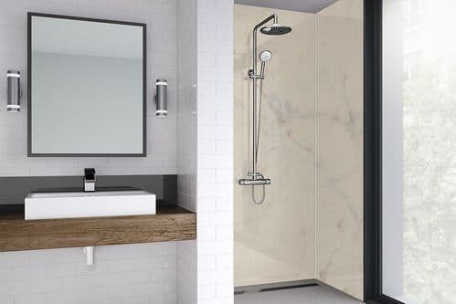 Wetwall Med Marble Gloss Shower Wall Panel