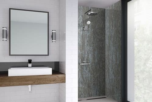 Wetwall Silver Alloy Textured Shower Wall Panel