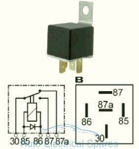 160270 Change over relay 12v 20/30A with diode