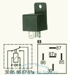 160942 Change over relay 12v 40/15A with diode