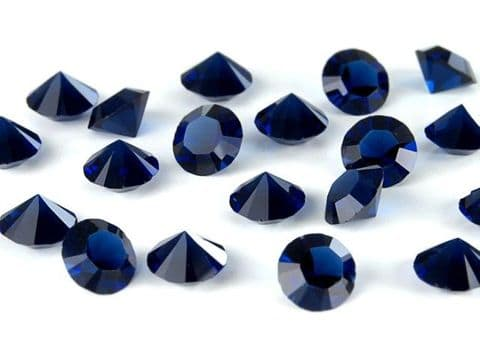 1088 UNFOILED Round Pointed Back Crystals, Dark Indigo