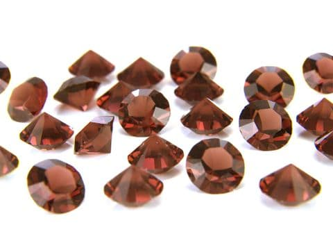 1088 UNFOILED Round Pointed Back Crystals, Smoked Topaz