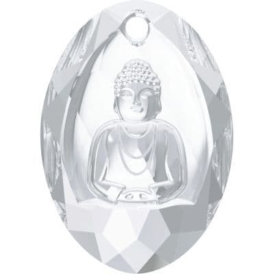 CLEARANCE 6871 Buddha Pendant, 28x19.8mm, Crystal, Pack of 1