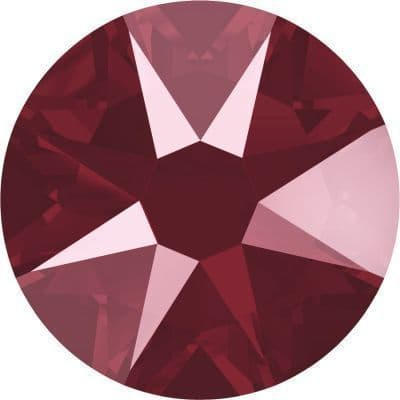 Flatback Crystals, No-Hotfix, Round, Dark Red