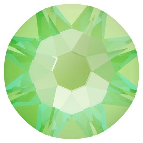 Flatback Crystals, No-Hotfix, Round, Electric Green DeLite