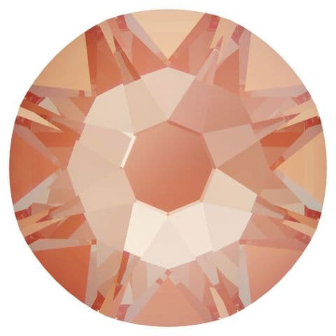Flatback Crystals, No-Hotfix, Round, Electric Orange DeLite
